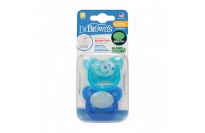 DR.BROWNS Πιπίλα Prevent Νύχτας Σιλικόνης Μπλε 6+12Μ 2τμχ.