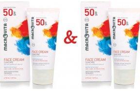 Macrovita Suncare Face Cream με αλόη, πανθενόλη & λάδι ελιάς SPF50 50ml 1+1