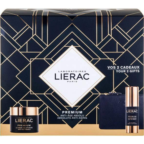 Lierac Premium Absolute Anti-Aging Cream Voluptueuse 50ml, Eye Cream 15ml & Rue des Fleurs Lierac Pouch