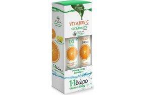 Power Health Vitamin C 1000mg & D3 1000iu Stevia 24 αναβράζοντα δισκία Τζίντζερ Λεμόνι & Vitamin C 500mg 1000iu 20 αναβράζοντα δισκία