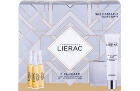 Lierac Cica-Filler Mat Anti-Wrinkle Repairing Cream - Gel 40ml, Anti-Wrinkle Repairing Serum 3 x 10ml & Rue des Fleurs Monaco Pouch