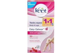 Veet Easy-Gelwax Wax Strips Legs & Body Normal Skin 20τμχ